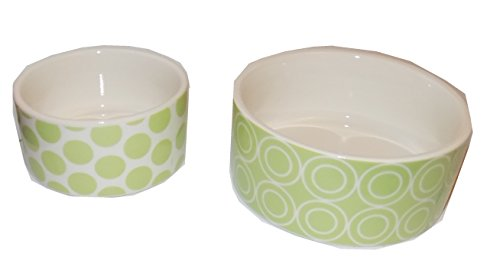 Set of 2 Light Green Ceramic Pet Bowls - 1/4 Cup and 2/3 Cup