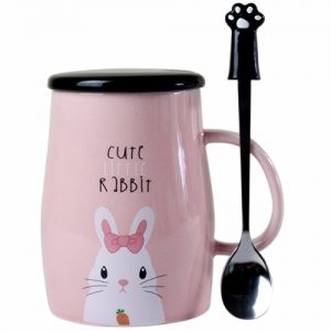 Angelice Home Cute Naughty Rabbit Mug Bunny Mug Set with Creative Stainless Steel Teaspoon for Bunny Lovers