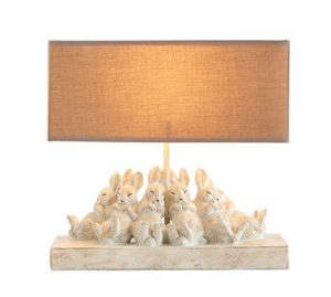 Creative Co-Op DA6893 Turn of The Century sand Color Resin Table lamp with Rabbits & Linen Shade