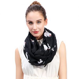 Lina & Lily Rabbit Bunny with Bow Tie Print Women's Infinity Scarf Lightweight (Black)