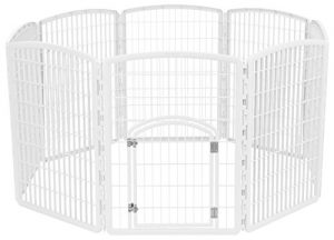IRIS Exercise 8 Panel Pen Panel Pet Playpen with Door - 34 Inch, White