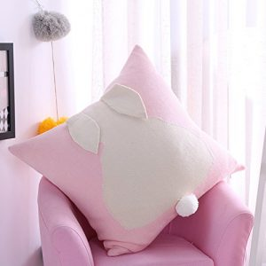 Fashion Cute Bunny Decorative Pillow Covers,Rabbit Cartoon Pattern Throw Pillow Covers Cushions For Sofa Bed Car (Pink)