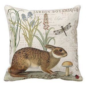 "Decorpillows Modern Vintage French Rabbit in the Garden Pillow Cover 18"" x 18"""