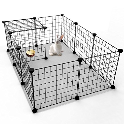Tespo Pet Playpen, Small Animal Cage Indoor Portable Metal Wire Yard Fence