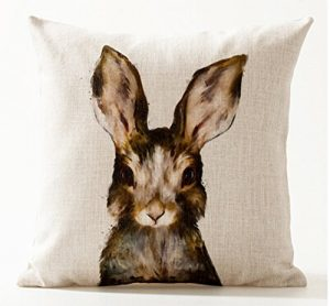 Nordic Simple Ink Painting Watercolor Animal Adorable Bunny Rabbit Cotton Linen Throw Pillow Case Personalized Cushion Cover