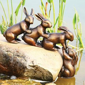 Home & Garden Decor Helping Hands Bunny Rabbit Friends Statue Aluminum Pond Lawn Ornament