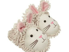 Aroma Home Fuzzy Friends White Rabbit Slippers