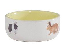 Rabbit Feeding Bowl, Ceramic Yellow