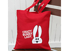 Crazy bunny lady tote bag - Red