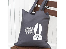 Crazy bunny lady tote bag - Grey