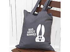 Mad about bunnies tote bag - Grey