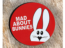Mad about bunnies coaster - Red