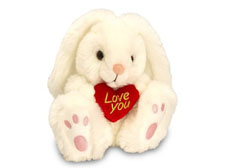 Patchfoot Rabbit Bunny with Heart Cream 25cm
